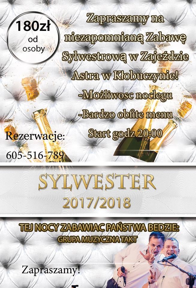 Sylwester w Hotelu Astra. Cena 180 PLN, dobra muzyka, obfite menu. Zapraszamy!